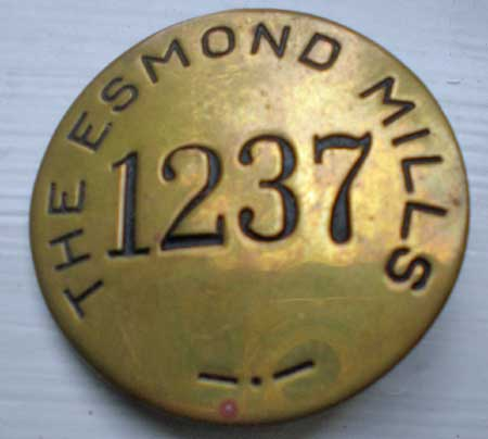 Esmond Mills Brass Employee Identification Badge, C. 1935-1940