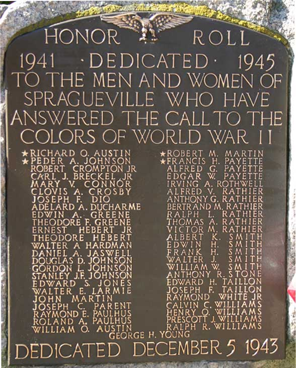 Spragueville Word War II Memorial
