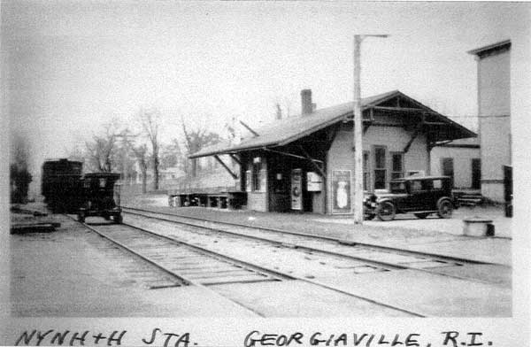 NYNH&H-Railroad-Georgiaville: Georgiaville Train Station - Was located on what is now known as St. Michaels Way between Stillwater Rd (formerly known as Railroad Ave) and Whipple Ave.  NYNH&H stands for New York, New Haven and Hartford.
